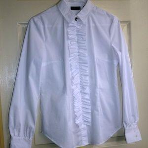 New York & Company White Ruffle Button Down Shirt